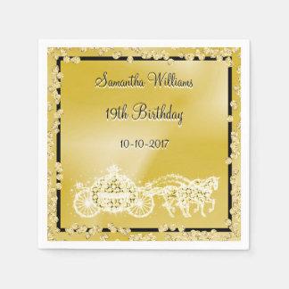 Gold Princess Coach & Horses 19th Birthday Paper Napkin