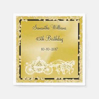 Gold Princess Coach & Horses 45th Birthday Disposable Napkin