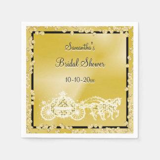 Gold Princess Coach & Horses Bridal Shower Disposable Napkin