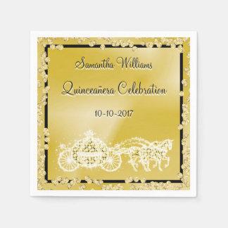 Gold Princess Coach & Horses Quinceañera Disposable Napkins