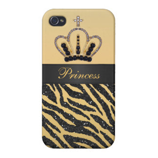 Gold Princess Crown Zebra Faux Glitter Photo Case For The iPhone 4