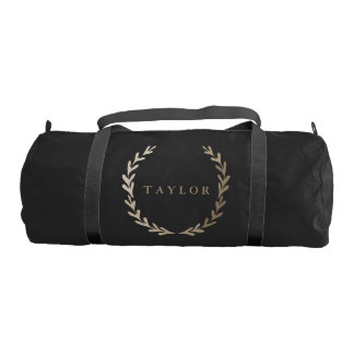 Gold Print Black Gym Duffle Bag