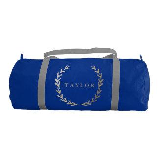 Gold Print Blue Gym Duffle Bag