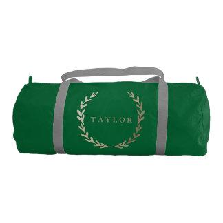 Gold Print Green Gym Duffle Bag