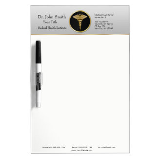 Gold Professional Medical Caduceus Dry Erase Board