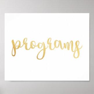 Gold programs sign. Modern wedding print. Classic Poster