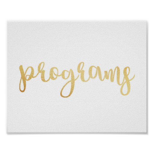 Gold programs sign. Modern wedding print. Classic Poster