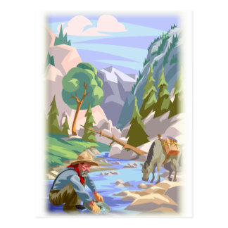Gold Prospector Colorful Print Postcard