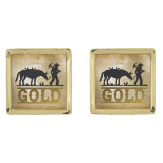 Gold Prospector. Gold Finish Cuff Links