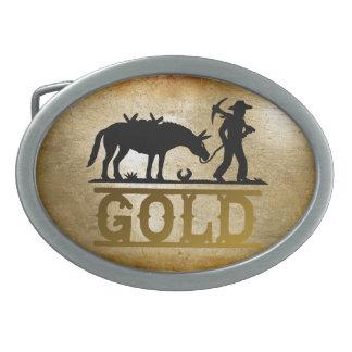 Gold Prospector. Oval Belt Buckles