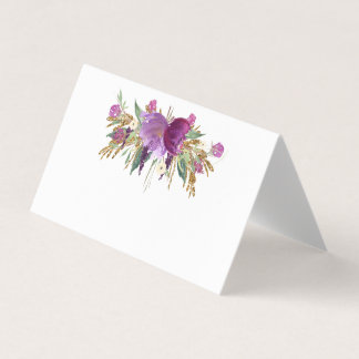 Gold Purple Amethyst Wildflowers Place Cards