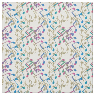 Gold Purple Blue Music Notes Pattern White Fabric