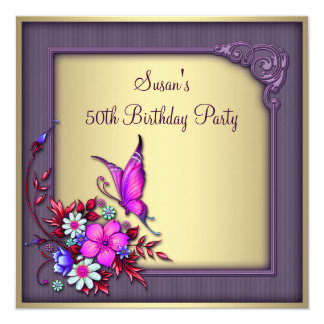 Gold Purple Butterfly Womans 50th Birthday Party 13 Cm X 13 Cm Square Invitation Card