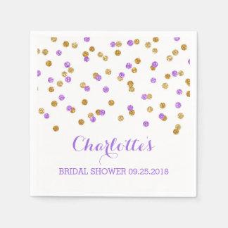 Gold Purple Confetti Bridal Shower Paper Napkins
