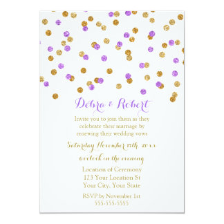 Gold Purple Confetti Vow Renewal Invitation