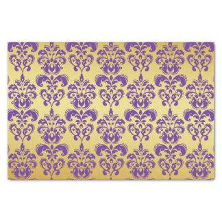 "Gold, Purple Damask Pattern 2 10"" X 15"" Tissue Paper"