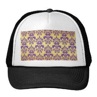 Gold Purple Damask Pattern 2 Mesh Hat