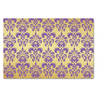 Gold, Purple Damask Pattern 2 Tissue Paper