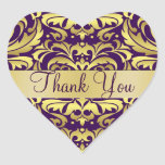 Gold & Purple Damask Thank You Heart Sticker