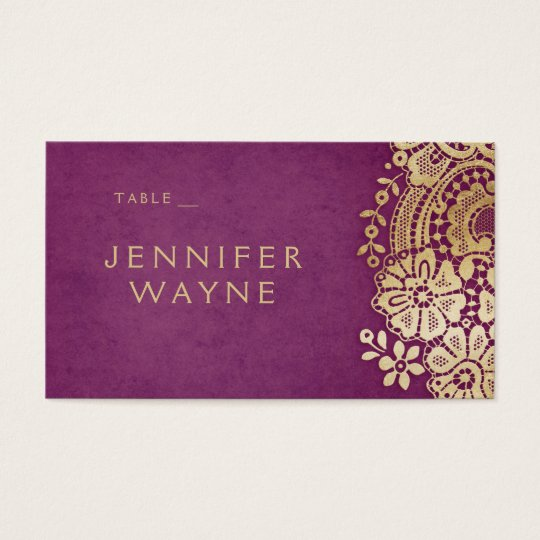 Gold purple elegant lace wedding place cards