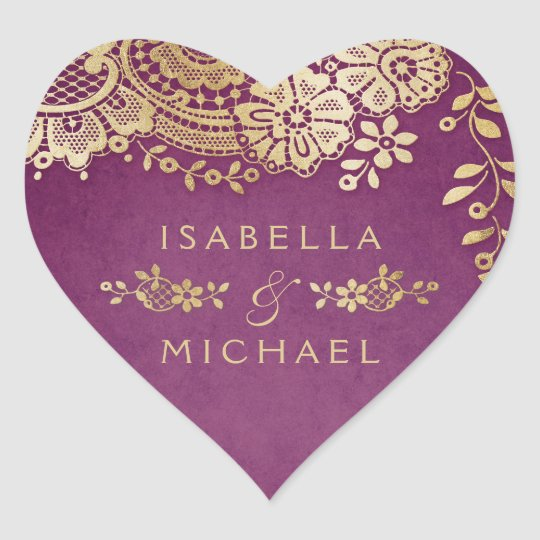 Gold purple elegant vintage lace wedding favour heart