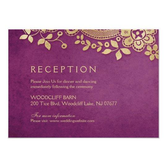 Gold purple elegant vintage lace wedding reception card