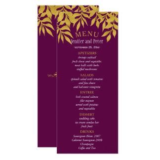 Gold purple fall laurel leaves wedding menu card