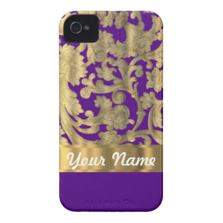 Gold & purple floral damask pattern iPhone 4 cases