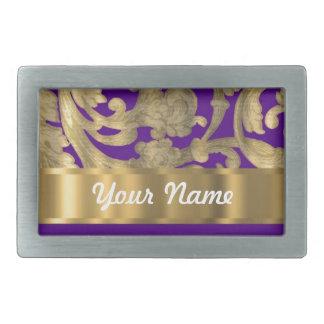 Gold & purple floral damask pattern rectangular belt buckle