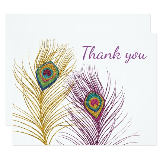 Gold Purple Glitter Peacock Feathers Thank You Card
