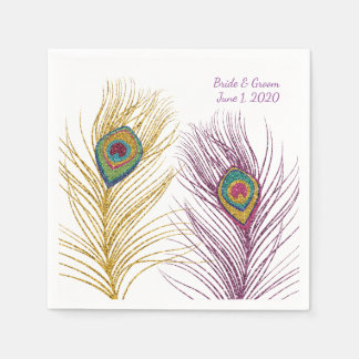 Gold Purple Glittery Peacock Feather Wedding Disposable Napkins