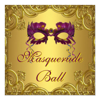 Gold Purple Mask Purple Masquerade Ball Party Personalized Announcements