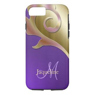 Gold Purple Pink Metallic Monogram iPhone 8/7 Case