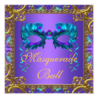 Gold Purple Teal Blue Mask Masquerade Ball Personalized Invitation