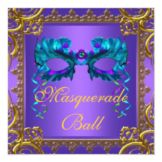 Gold Purple Teal Blue Mask Masquerade Ball 5.25x5.25 Square Paper Invitation Card