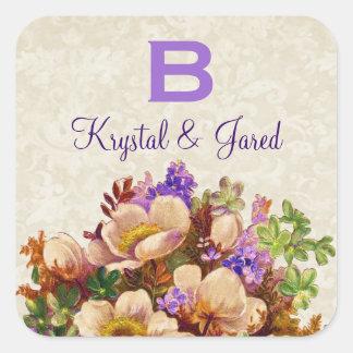 Gold Purple Vintage Flowers Wedding Monogram S581 Square Sticker
