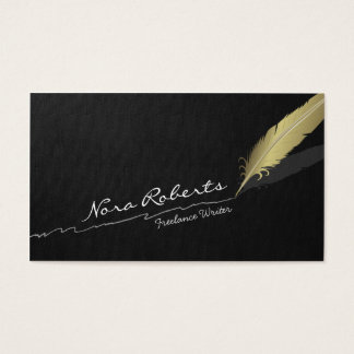 Gold Quill Feather Pen Hand drawn Line Black Linen Business Card