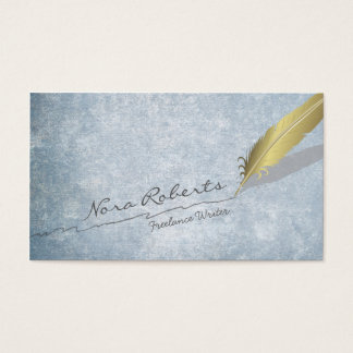 Gold Quill Feather Pen Handdrawn Line Blue Grunge Business Card