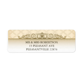 Gold Quilted Print Baroque Return Address Labels