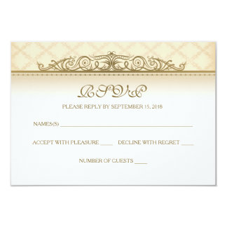 Gold Quilted Print Baroque RSVP Cards