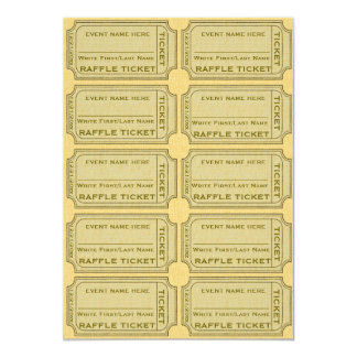 Gold Raffle Tickets for Invitations