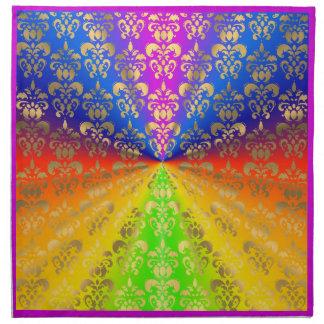 Gold rainbow damask napkin