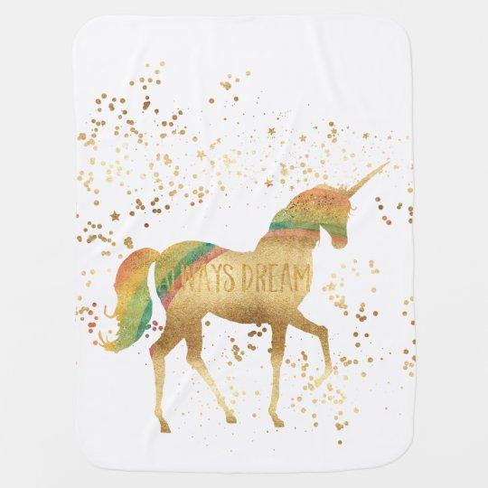 Gold Rainbow Dream Unicorn Baby Blanket