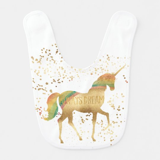 Gold Rainbow Dream Unicorn Bib
