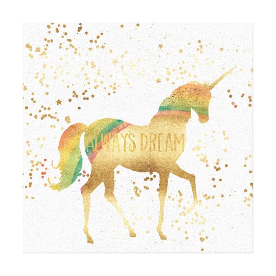 Gold Rainbow Dream Unicorn Canvas Print