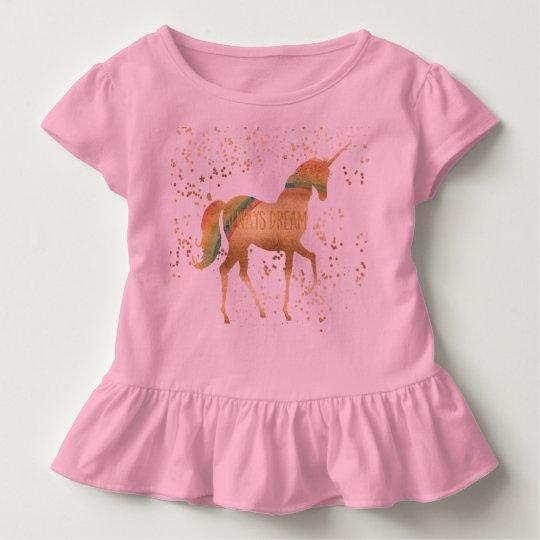 Gold Rainbow Dream Unicorn Toddler T-Shirt