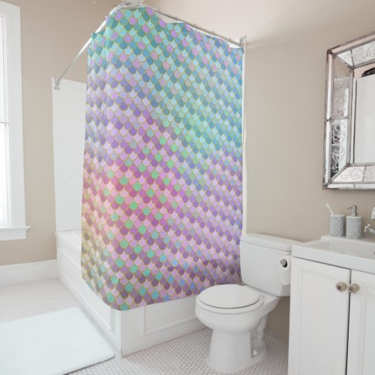 Gold Rainbow Ombre Mermaid Scales Shower Curtain