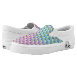 Gold Rainbow Ombre Mermaid Scales Slip-On Shoes