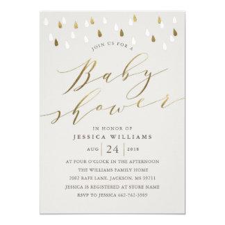 Gold raindrops snd script baby shower invite gray