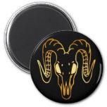 GOLD RAM HEAD 6 CM ROUND MAGNET